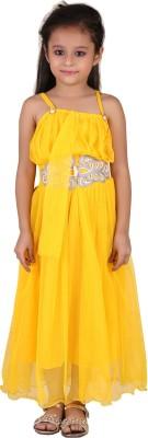 Crazeis Girls Maxi/Full Length Party Dress(Yellow, Sleeveless) at flipkart