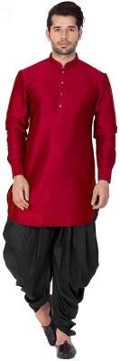 Larwa Ethnic Men Self Design Straight Kurta(Red)