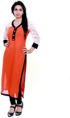 Khankan Women Solid Straight Kurta(Orange)