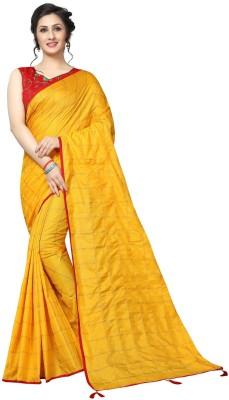 Julee Checkered Fashion Silk Saree(Yellow)