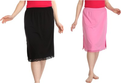 Splash Solid Women Straight Pink, Black Skirt