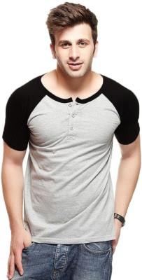 Veirdo Solid Men\'s Round Neck Black, Grey T Shirt