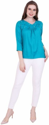 STC Casual 3/4th Sleeve Solid Women's Light Blue Top