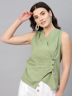 Sassafras Casual Sleeveless Solid Women's Green Top