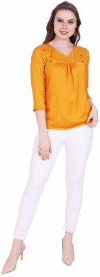 STC Casual 3/4th Sleeve Solid Women's Yellow Top