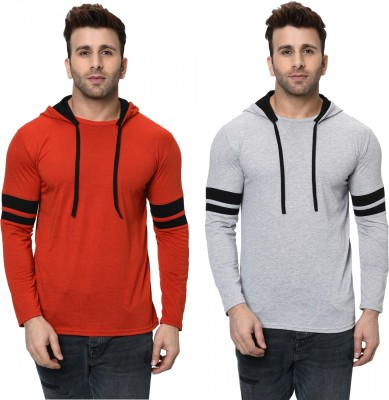 Jangoboy Striped Men Hooded Neck Red, Grey T-Shirt(Pack of 2)