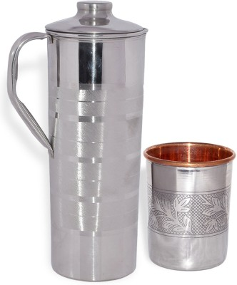 Prisha India Craft Drinkware Stainless Steel With 1 Stainless Steel Small Tumblers Inside Copper Jug Glass Set Stainless Steel Prisha India Craft Lemo