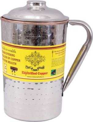 IndianArtVilla 1.3 L Water Handmade Hammered Steel Copper Jug Pitcher Jug Steel, Copper