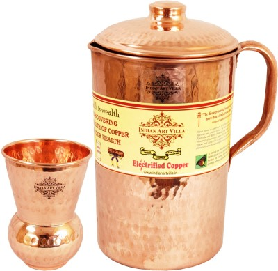 IndianArtVilla Hammered Copper Jug Pitcher with Glass Tumbler Cup - Storage Water Home Hotel Restaurant Tableware Serveware Water Jug Set(2.075 L, Pack of 2) at flipkart