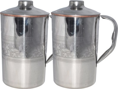 Prisha India Craft 1.7 L Water  1600 ml  Embossed Design Outside Stainless Steel Utensils for Ayurveda Healing Capacity 1.6 L Jug Copper, Steel, Pack