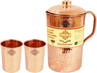 IndianArtVilla Copper Hammer Jug No.6, 2 Copper Large Flate Hammer Glass Water Jug Set(2.7 L, Pack of 3) at flipkart
