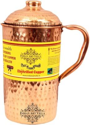 IndianArtVilla Copper Hammered Jug Pitcher with Lid - Storage Water Home Hotel Restaurant Tableware Drinkware Water Jug(1.5 L) at flipkart
