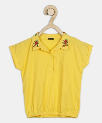 Chemistry Girls Casual Cotton Blend Top(Yellow, Pack of 1) at flipkart