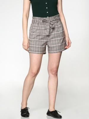 Only Checkered Women Grey Basic Shorts at flipkart