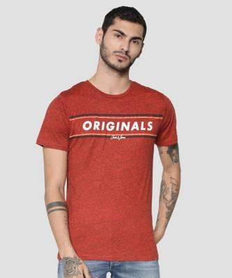 Jack & Jones Printed Men Round Neck Red T-Shirt