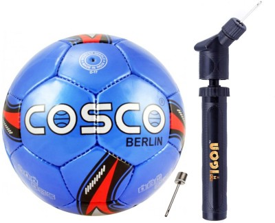 Cosco Berlin Football (Color & Design on Availability) With Ball Pump and Needle Football - Size: 5(Pack of 2, Multicolor)
