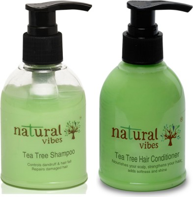 Natural Vibes Ayurvedic Tea Tree Shampoo and Conditioner Combo - 150 ml + 150 ml(2 Items in the set)