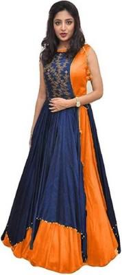 nplashfashion Printed Semi Stitched Lehenga Choli(Blue, Orange)