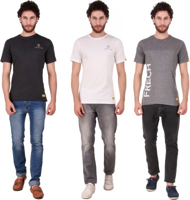 FRECH Printed, Solid Men Round Neck Black, Grey, White T-Shirt(Pack of 3)