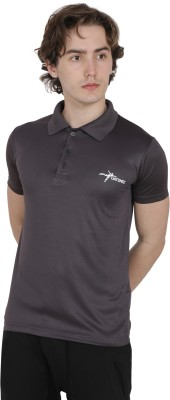 Datsmee Solid Men Polo Neck Grey T-Shirt
