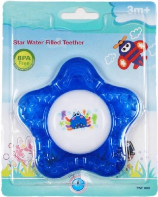 HuddiBABA Durable Star Shaped BPA Free Soother Cum Rattle Toy For Infants. Teether(Blue)