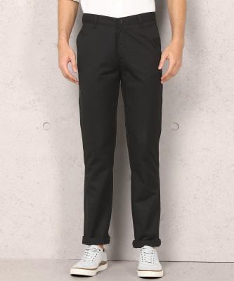 Metronaut Regular Fit Men Polycotton Black Trousers