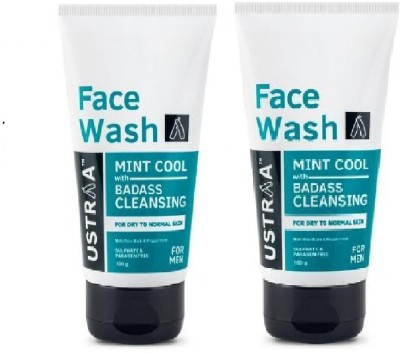 Ustraa By Happily Unmarried Mint Cool (Dry to Normal Skin) Facewash For Men Pack of 2 Face Wash(200 g)