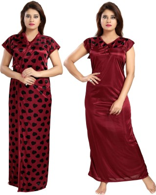 Be You Women Nighty with Robe(Maroon, Blue)