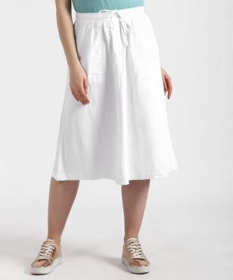 MARKS & SPENCER Solid Women A-line White Skirt