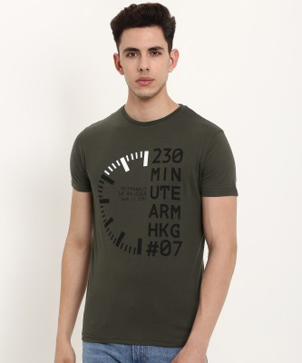 Metronaut Printed Men Round Neck Green T-Shirt
