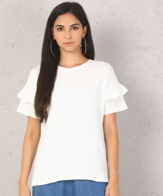 Metronaut Casual Layered Sleeve Self Design Women White Top