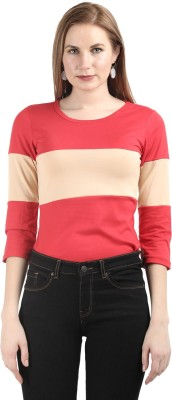 Deewa Casual 3/4th Sleeve Solid Women\'s Red Top