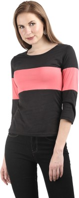 Deewa Casual 3/4th Sleeve Solid Women's Pink Top