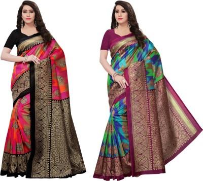Saara Printed Mysore Art Silk Saree(Pack of 2, Multicolor)