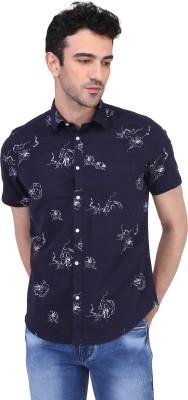 Risque Men Printed Casual Blue Shirt