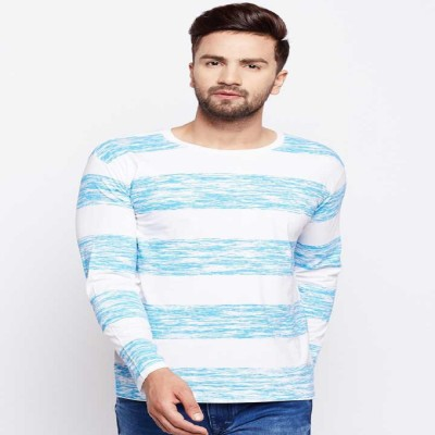 THE DRY STATE Striped Men Round Neck Blue, White T Shirt