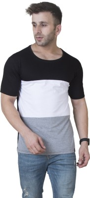 Veirdo Solid Men Round Neck White, Black, Grey T Shirt