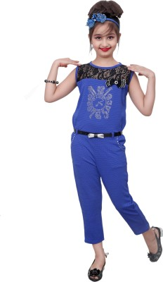 Aarika Self Design Baby Girls Jumpsuit