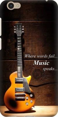 COBIERTAS Back Cover for VIVO Y55L(Multicolor Where Words Fail Music Speaks Guitar Quote Designer Print Printed Design, Hard Case)