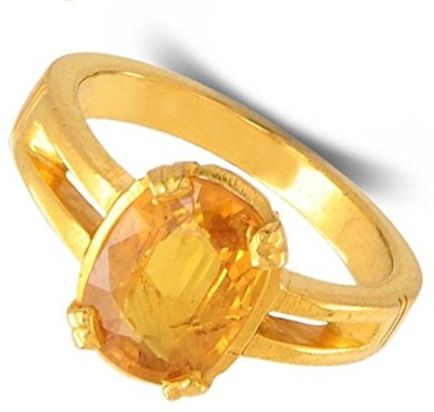 Raviour Lifestyle Yellow Sapphire Ring Pukhraj Ring for astrological benifits Brass Sapphire Ring