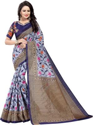 Yashika Floral Print Daily Wear Art Silk Saree(Grey)