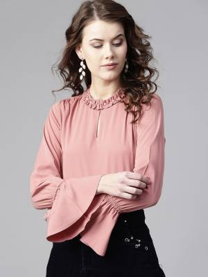 Zima Leto Casual Full Sleeve Solid Women Pink Top