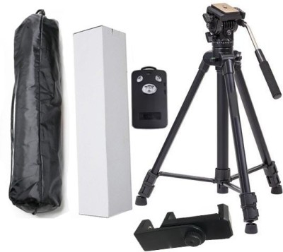 BUY SURETY Best Quality Tripod-3388 Adjustable Aluminum Professional Foldable Lightweight Camera Stand With Three-Dimensional Head & Quick Release Plate For Video Cameras, Dslr, Action Camera Tripod With Mobile Clip Holder & BT Remote Tripod(Black, Supports Up to 1500 g) 1
