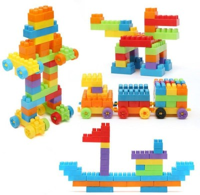 BOZICA NEW BEST QUALITY 100 Pcs Building Blocks,Creative Learning Educational Toy For Kids Puzzle Assembling Shape Building Unbreakable Toy Set(Multicolor)