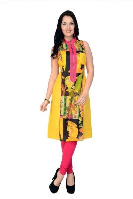 Pannkh Casual Printed Women Kurti(Pink, Yellow) at flipkart