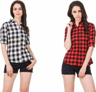 Fashion Village1 Women Checkered Casual Multicolor Shirt Pack of 2