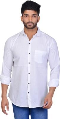 A'Shilp Men Solid Casual White Shirt
