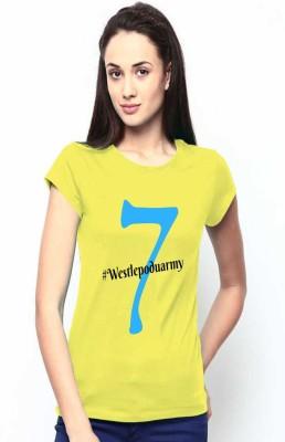 MYFASHIONWORLD Solid Women Round Neck Yellow T-Shirt