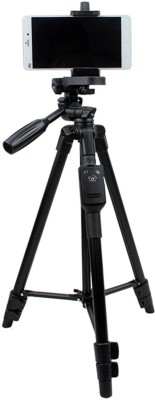 BUY SURETY Tripod-3388 Best Adjustable Aluminum Professional Foldable Heavy Duty Shooting Angle Lightweight Camera Stand With Three-Dimensional Head & Quick Release Plate For Video Cameras, Dslr, Action Camera Tripod With Mobile Clip Holder & BT Remote Tripod(Black, Supports Up to 1500 g) 1