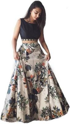 jahal fashion Floral Print Semi Stitched Lehenga & Crop Top(Dark Blue, Beige)